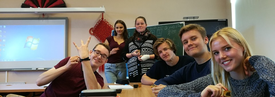 Teenagers from Confucius class affiliated to the University of Latvia celebrating the Mid-Autumn Festival