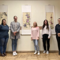 """Chinese teachers at Daugavpils University lead students to visit """"Far and near Chinese painting and calligraphy Exhibition"""""""