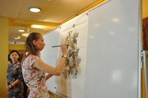 孔子学院奖学金生玛丽亚现场作画---《秋菊》